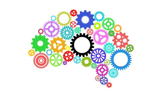 Artificial intelligence with human brain shape and gears